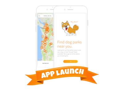 Park Bark App Launch launch locate search minimal orange dog location map shiba pet dogs app