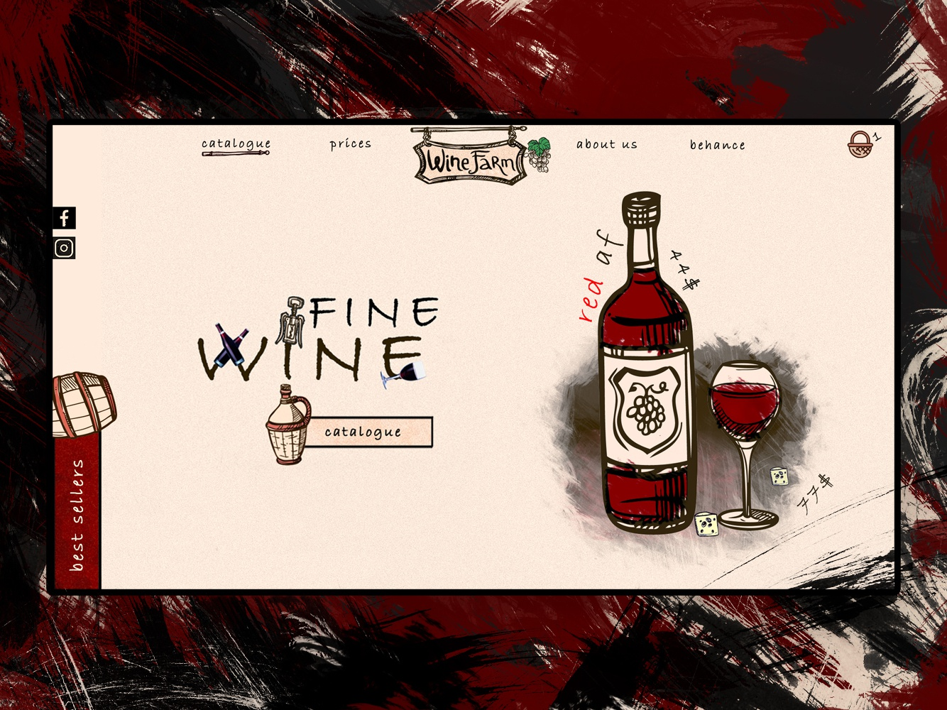 Wine UI screen page landing website web illustration red wine app ui design