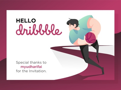 Gotcha! flat vector design illustration invitation firstshot hello dribbble