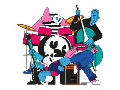 PPC music band vector ux web graphic  design ui header illustration illustration flat design
