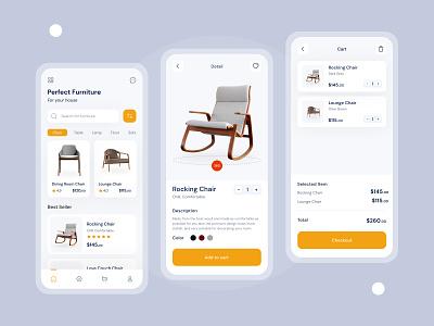 Fufurnituran Mobile App product design dribbble store ios property furniture app table chair e-commerce minimal ux app design ui branding