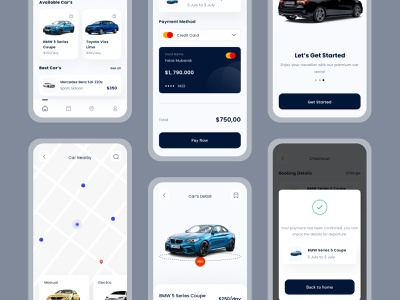 Car Rent Mobile App branding minimal ui app ux design