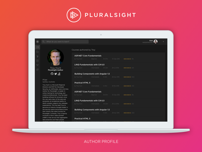 Pluralsight Author Profile dark ui pluralsight profile