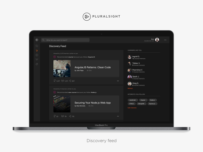 Pluralsight Discovery Feed ui ux community feed pluralsight