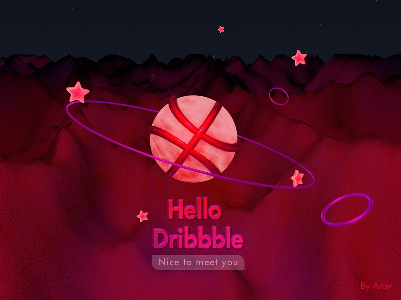 Hello Dribbble,best wishes c4d hello dribbble design