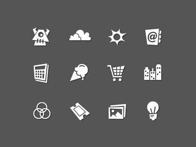 More Skewed Icons... icons skewed gray white
