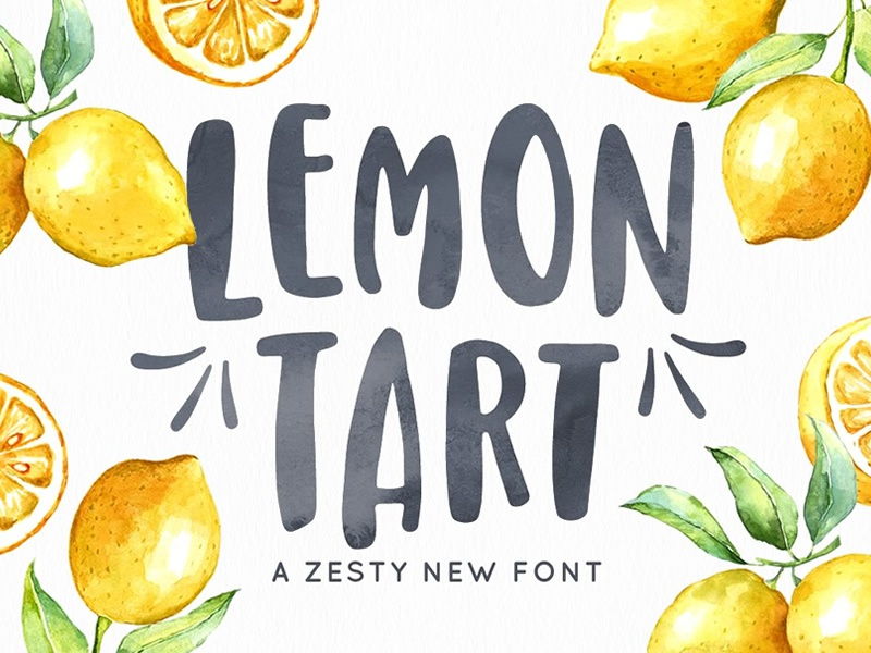 Lemon Tart Font handwriting pack trio lemon summer handdrawn font