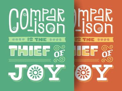 Comparison green orange typography