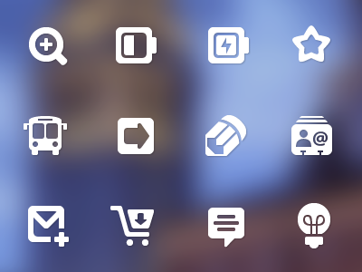 Pleasantly Plump Icons icons pencil lightbulb cart email magnifying glass star