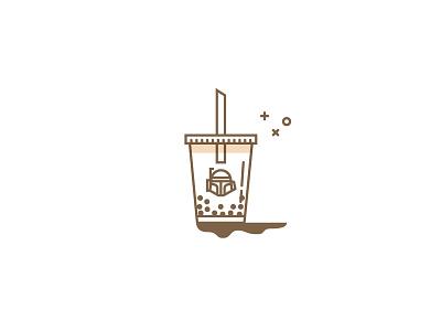 Boba Fett cup tapioca bubble tea drink star wars boba illustration vector