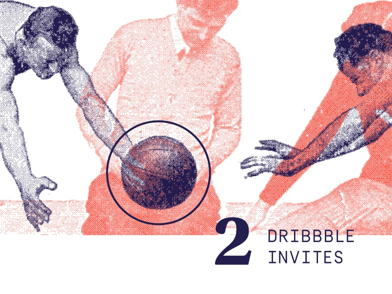 Two Dribbble Invitations invite dribbble halftone texture vector