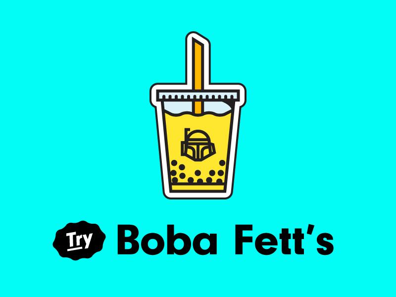 Boba Fett's Milk Tea Magnet cup straw magnet tea drink boba illustration vector