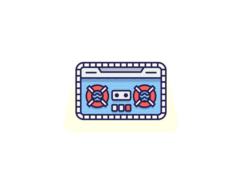 Summer Jams sticker playoff music mixtape tunes pool illustration vector