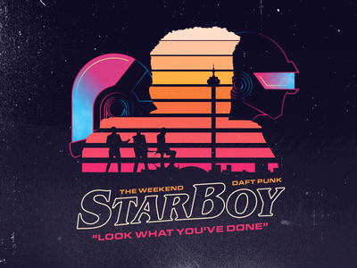 Starboy song music single poster 80s daft punk the weeknd retro texture vector