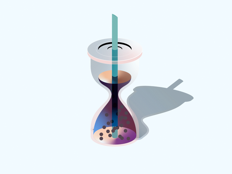 It's Boba Time drink isometric mini hourglass boba illustration vector