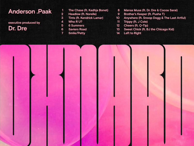 Oxnard music typography vector texture album art tracklist anderson paak retro type condensed
