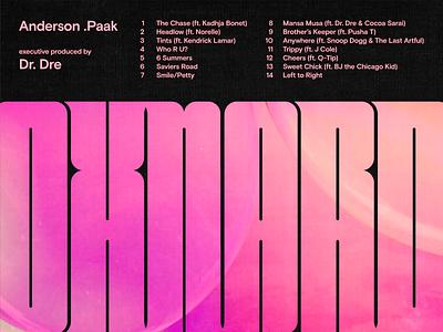 Oxnard music typography vector texture album art tracklist anderson paak retro type condensed