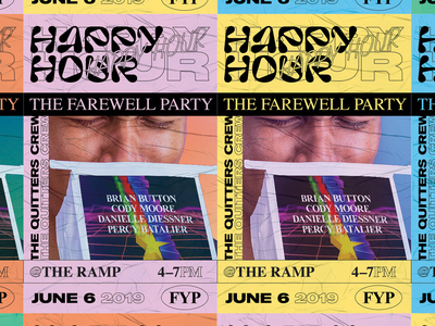 Happy Hour Postings vaporwave retro type layout 90s typography poster design wild postings poster texture