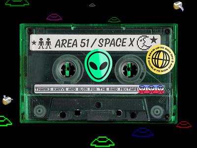 Area 51 Mixtape 🤔👽 music cassette tape 90s retro
