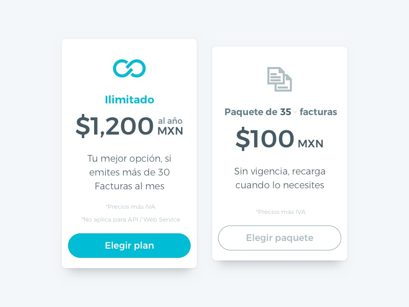 Pricing Tables web ux ui clean bold cyan shadows flat pricing