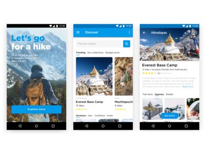 Travel app for hiking