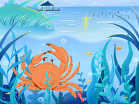Crab package illustration design