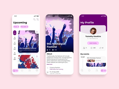 Events booking app concept