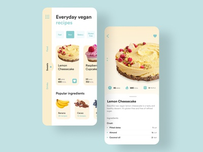 Vegan recipes app design