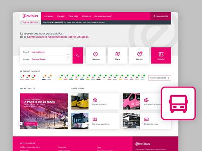 Webdesign Prototype - Envibus public transport business trafic bus traffic envibus antipolis sophia sketch rebranding design ui design ux design french webdesign ux ui