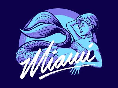 Miami Mermaid Tshirt Print mermaid illustration vector line art tshirt apparel miami lettering