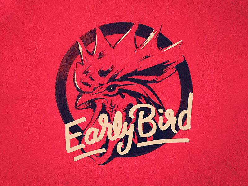 Rooster Apparel design lettering bird apparel tshirt line art vector illustration rooster