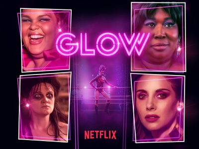 Glow Netflix Poster visual design 80s retro poster art poster branding graphic design film creative direction banner art direction