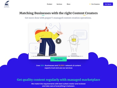 Landing Page UI - Pepper-Content ui design landing page concept signup marketplace homepage design landing page ui