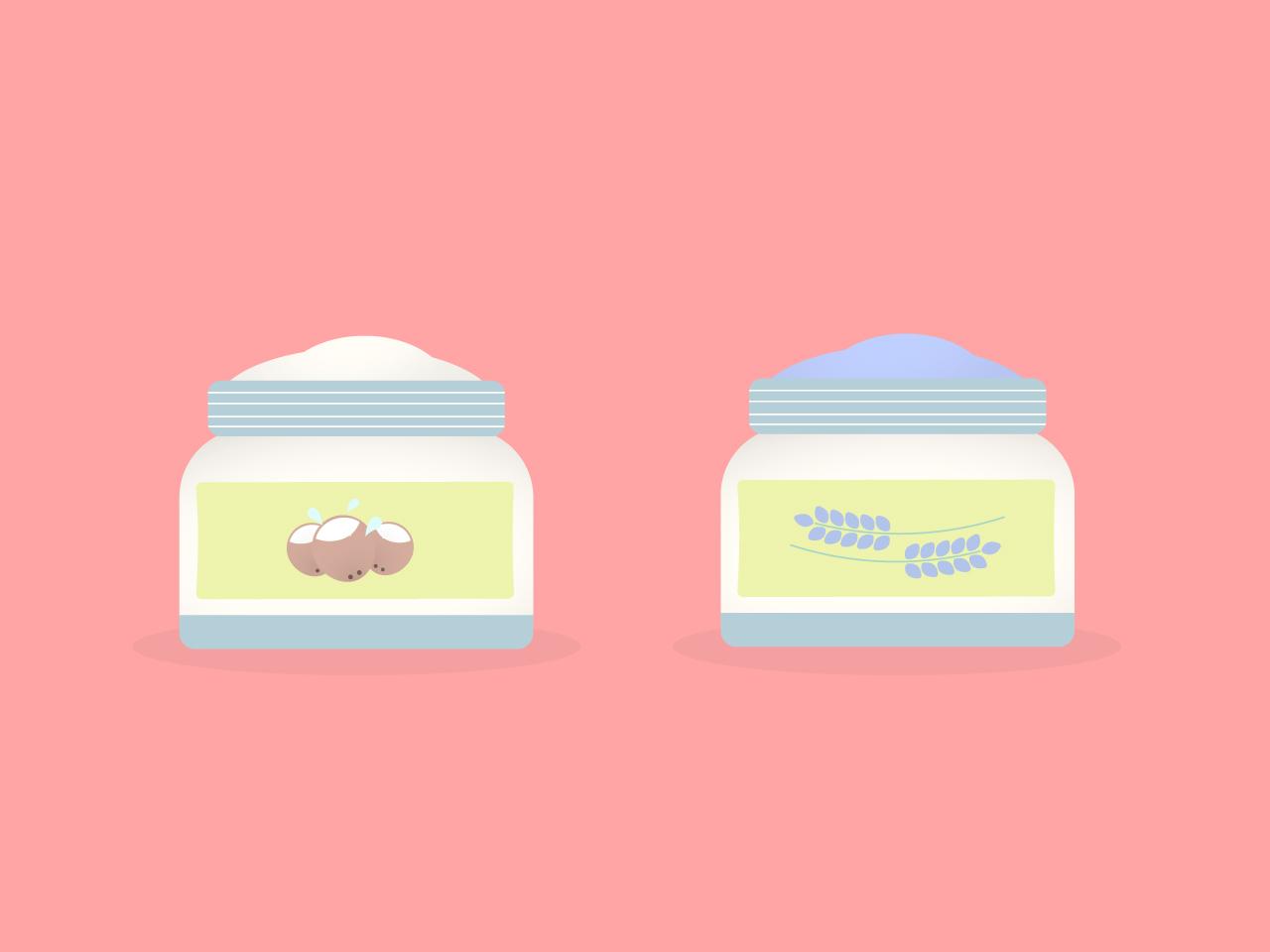 Hand creams (coconut and lavender) flat design lavender coconut cream illustration design