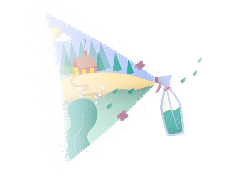 Fresh Natural Cleaner creative clean creativity landscape spray illustration design