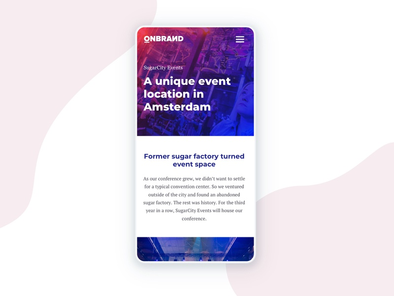 OnBrand'19 Conference - Venue page ui web design illustration mobile mockup design
