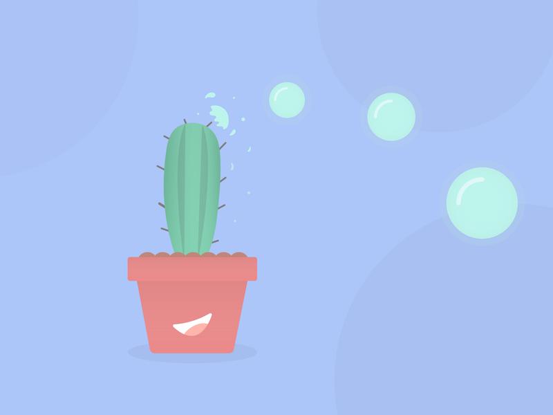 Cactus stubble causes bubble trouble character design illustration bubbles plant cactus