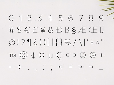 Gantic Font Family - Sans Serif - Numbers and Symbols