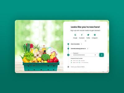 Signup / Registration Form | Grocery App Design register registration registration form webdesign signup form register form signup page regsiter signup