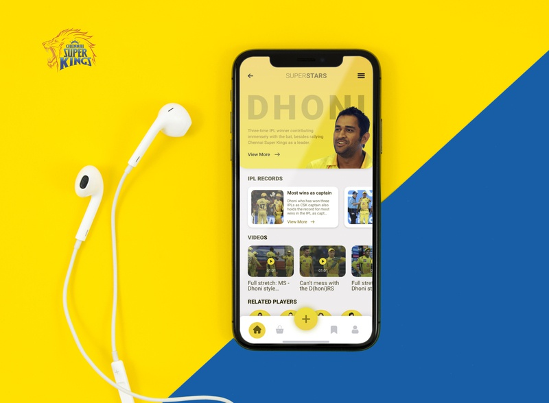 SuperStars Mobile App Design | IPL Cricket Fan App mobile app design mobile app ui design chennai super kings app csk app cricket fan app cricket app ms dhoni ipl 2020 ipl2020 ipl