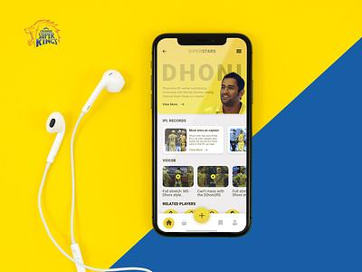 SuperStars Mobile App Design | IPL Cricket Fan App mobile app design mobile app ui design chennai super kings app csk app cricket fan app cricket app ms dhoni ipl 2020 ipl2020 ipl