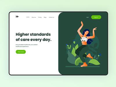 Health Care App | Web Design | Landing Page webdesign web app health tracking app uiux ui design landing page ui landing page design landingpage healthcare health care app