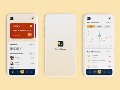 Financial Bank Mobile App Design Concept | Bank of Kerala logodesign mobile dashboard mobile app design bankingapp bank card bank app banking banking app financial financial app kerala bank kerala bank kerala bank