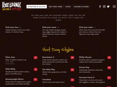 foxx.bar / The Foxx Hotdoggery (Menu)
