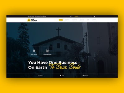 Noé church yellow noé design ui webdesign wordpress responsive theme