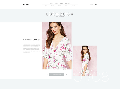 Fabio Lookbook clean minimal flat ecommerce shop slider woocommerce lookbook