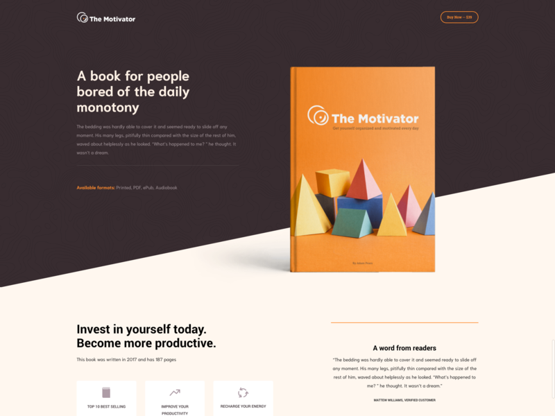 Book Landing Page parallax writer typography landing design creative minimal visual composer landing page concept landing page wordpress crocal book landing flat clean