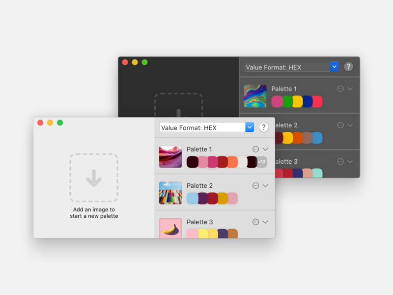 hueu light and dark modes picker palette color swift native app macos ux ui product design