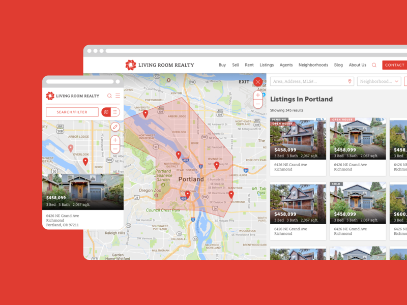 Living Room Realty Listings Search Application real estate react web app ux ui