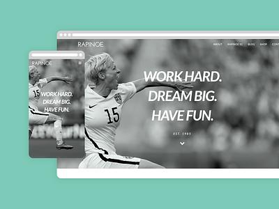 Rapinoe US Website Homepage layout ecommerce design ecommerce shop ecommerce ui ux branding rapinoe futbol soccer webdesign web